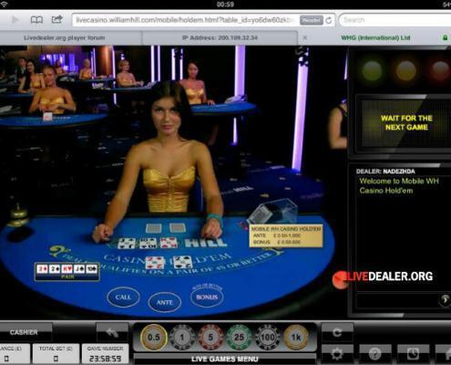 William Hill iPad live poker
